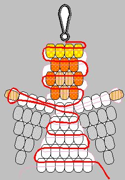 Angel Pattern-Part A  Makes a great ornament or backpack decoration.  You Need:  --4 Yellow or Gold Pony Beads  --7 Orange Pony Beads  --5 Ivory Pony Beads  --28 White Pony Beads  --20 Clear Pony Beads  --2 Yards Satin Cord  --1 Lanyard Hook