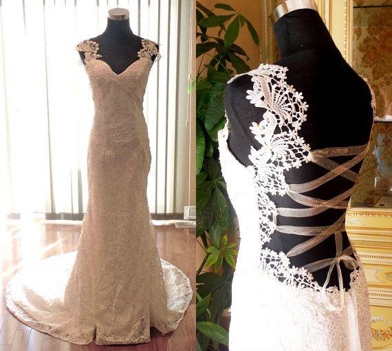 Low back lace wedding dress backless wedding dress by HolliexKate