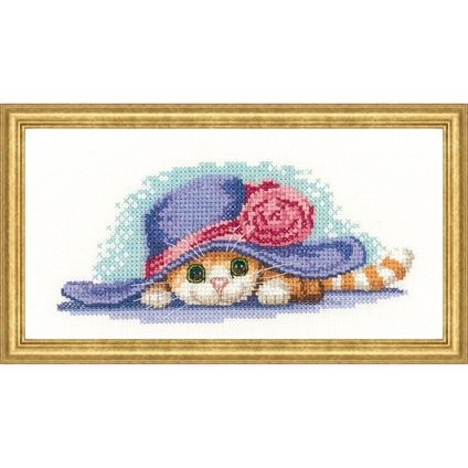 Cat in Hat #cat #countedcrossstitch #foxcollection