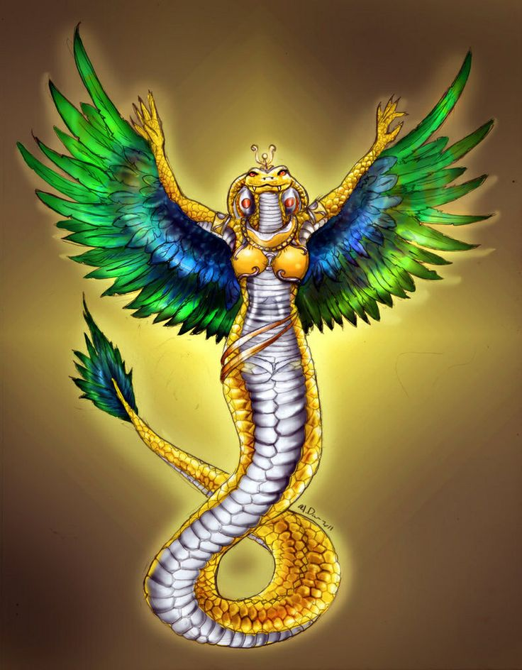 Wadjet- Egyptian myth: a patron goddess that protected kings and women in childbirth. She was often depicted with a snake head or a snake body.