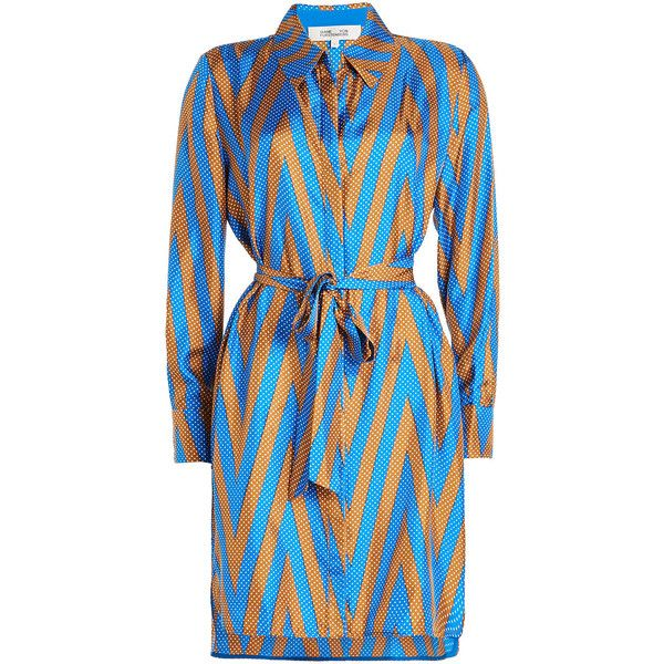 Diane von Furstenberg Printed Silk Wrap Dress (445 CAD) ❤ liked on Polyvore featuring dresses, multicolored, colorful bodycon dress, body con dress, blue bodycon dress, wrap dresses and polka dot bodycon dress