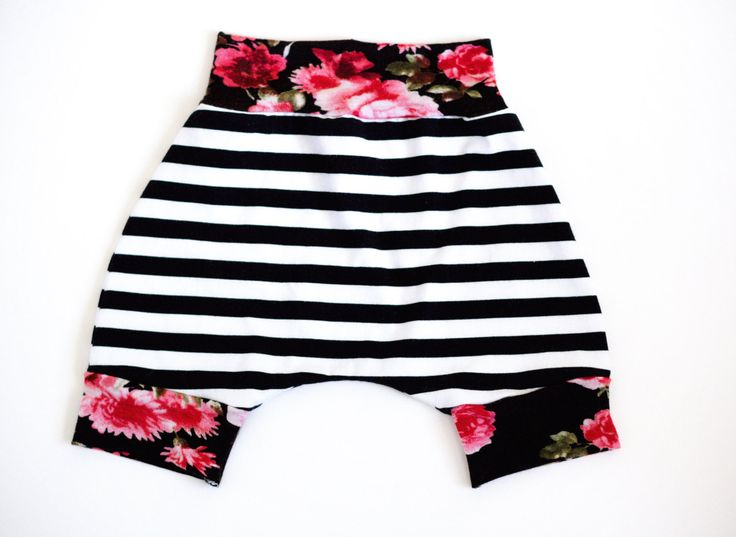 This adorable pair of black and white striped harem shorts with floral cuffs and turban is not only very stretchy and comfortable for your