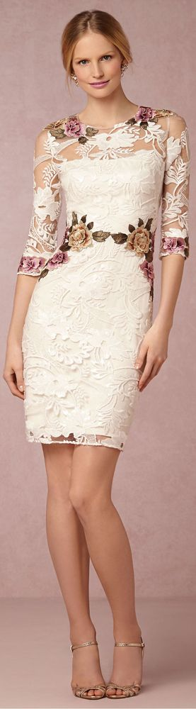 White lace floral summer dress. women fashion outfit clothing style apparel @roressclothes closet ideas