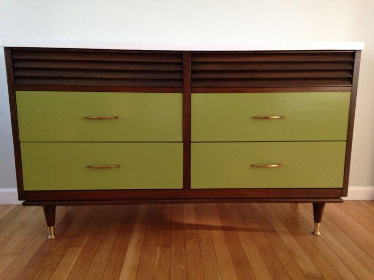 Retro Green Painted Mid Century Modern Dresser By Www.facebook.com/folklovin