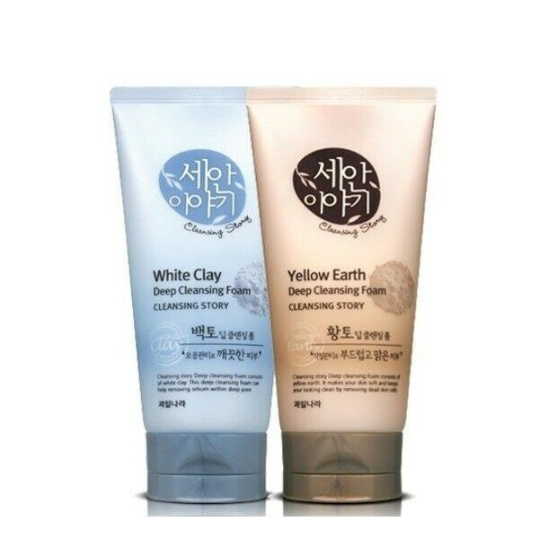 Welcos Cleansing Story Deep Cleansing Foam White Clay Yellow Earth 150ml Welcos White Clay Deep Cleansing Clay