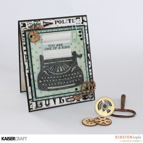 KAISERCRAFT - BARBER SHOPPE - MASCULINE CARD - TYPE WRITER - KAISERMIST…