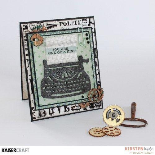 KAISERCRAFT - BARBER SHOPPE - MASCULINE CARD - TYPE WRITER - KAISERMIST - KIRSTEN HYDE - MYHYDEAWAY - 1