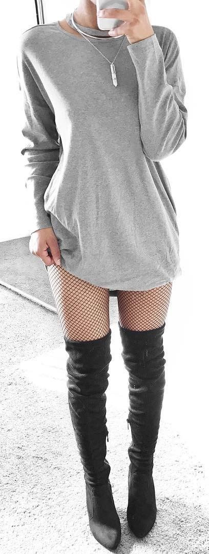fishnet with a dress