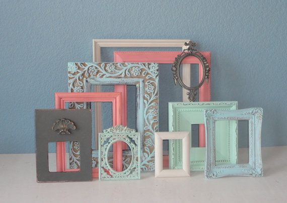Shabby Chic Frame Set:  Pastels Mixed with Cream and Gray Painted Frames on Etsy, $121.61 AUD