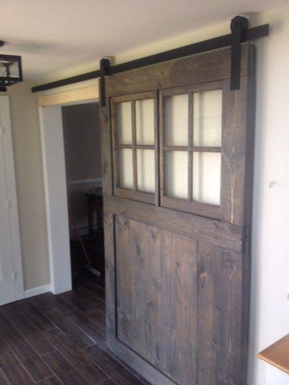 Vintage Custom Sliding Barn Door With Windows Price Is For Etsy Wood Doors Interior Custom Barn Doors Barn Door Window