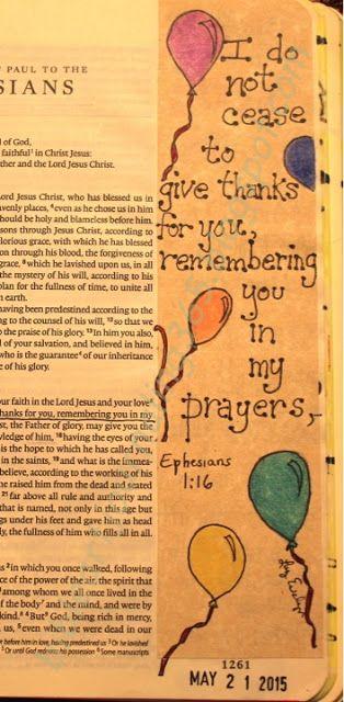 Easy Bible Art Journaling Journey: Ephesians 1:16-17 (May 21st)