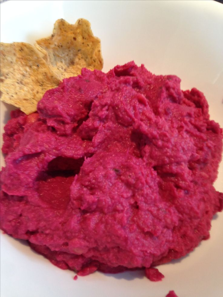 Red Beet Hummus, 1 can chick peas 1 can red beets, garlic powder, EVO salt, pepper, oregano. Blend until smooth in processor