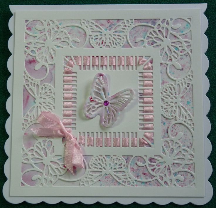 Sue Wilson's Butterfly Frame, Cosmic Shimmer Pixie Powder in Plum Twist. A Very simple card to make, and flat for posting. #creativeexpressions