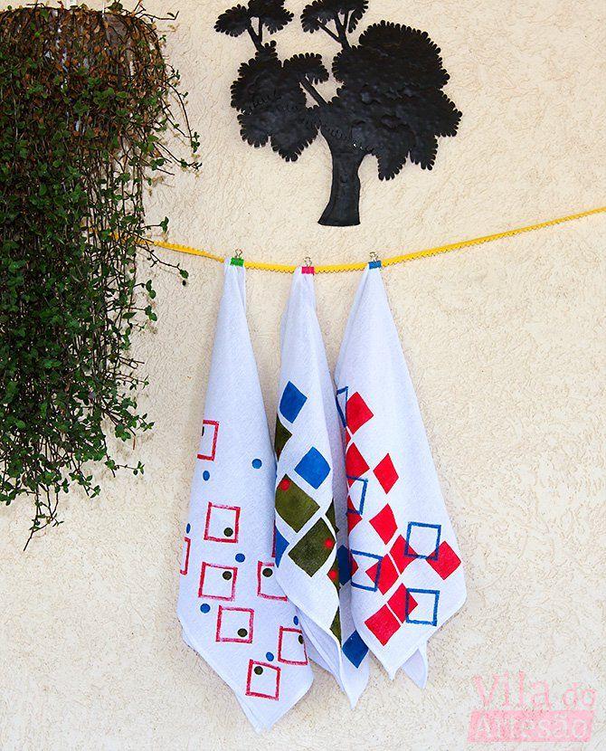 Tutorial Vila do Artesão - Como pintar tecido usando estêncil e carimbo