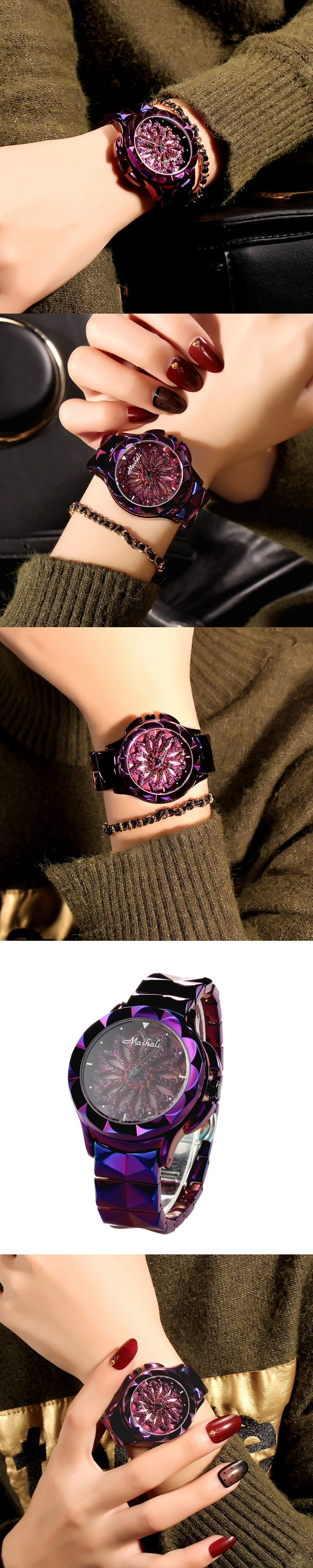 2017 Lucky Flower Women Purple Watches Lady Shining Rotation Dress Watch Stainless Steel Wristwatch Clocks Hours Female Relogio