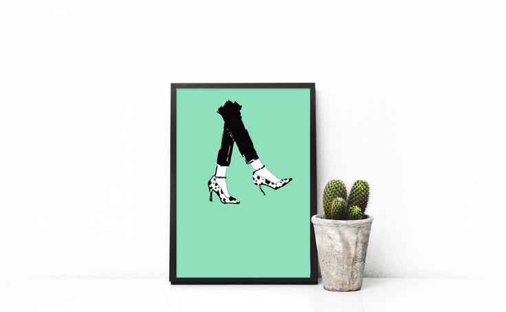 FREE SHIPPING* Fashion illustration print Dalmatian Heels by akvileles on Etsy