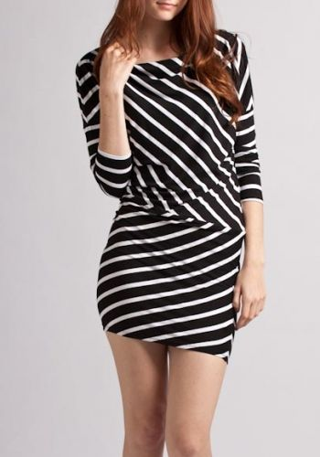 Asymmetrical pinstriped dress