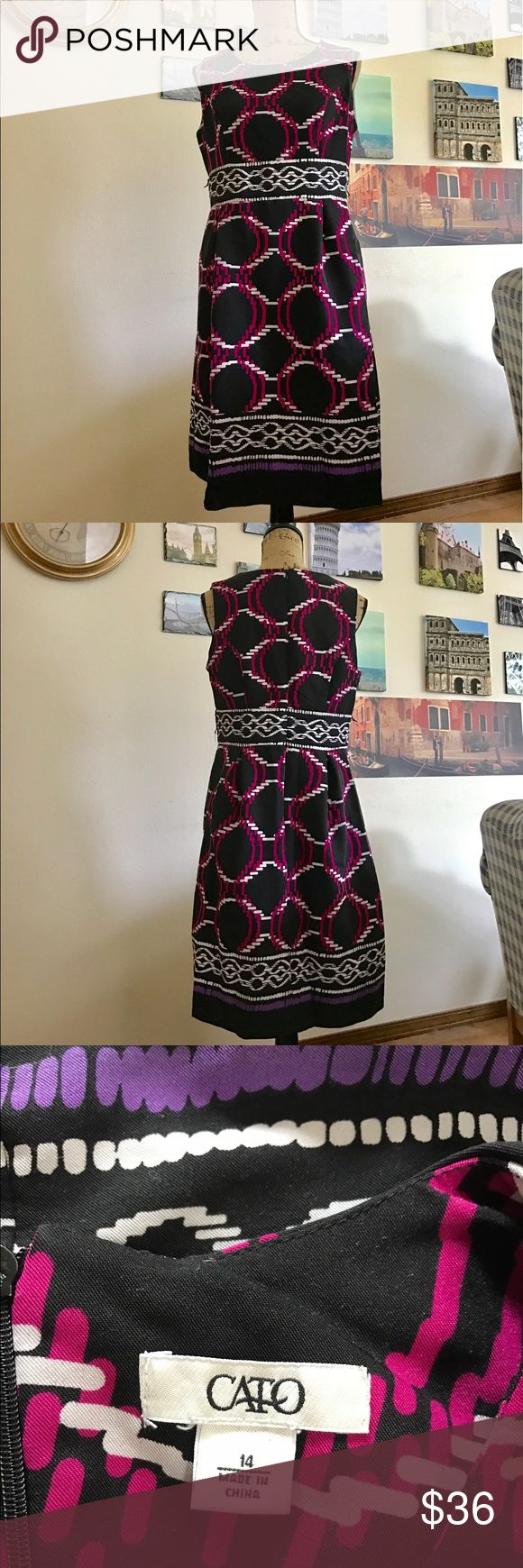 """Cato plus size business professional dress, Sz. 14 This dress is so beautiful with its vibrant geometric design!!  Features a zipper up the back and pockets!  Minor pilling throughout (see 3rd photo).  Measures 19"""" pit to pit flat laid, waist measures 17"""" across the front flat laid and is 38"""" in length.  05111117017 Cato Dresses Midi"""
