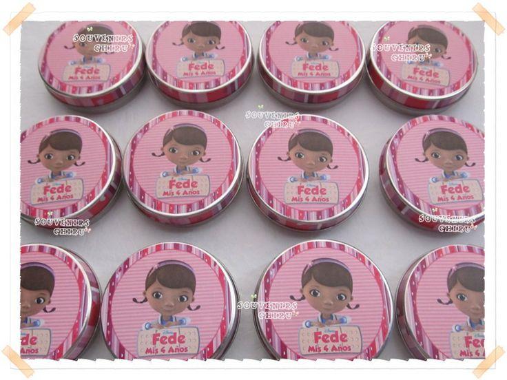 www.facebook.com/souvenirs.chiru Latitas pastilleros personalizadas. Souvenirs latas de la Doctora Juguetes.