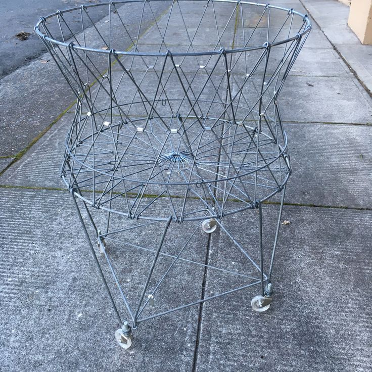 Vintage Allied Collapsable Wire Laundry Basket on Wheels With Liner Home Decor Retro Mid Century by vintagebaron on Etsy