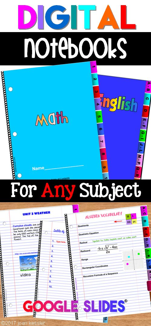 These digital notebooks can be used for any grade and any subject. Working tabs make it easy to work with units and sections. Use one  for vocabulary, or custom dictionary and the other for topics. Embed hyperlinks, videos, images and more.  Use all year or as a project. Paperless digital engagement.