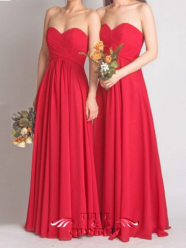 Long Flame Red Sweetheart Strapless Bridesmaid Dress 3