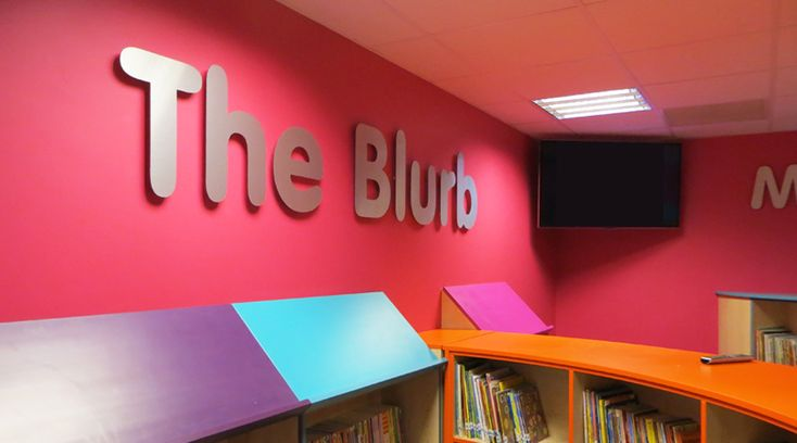 'The Blurb' library lettering. This 3D stainless steel lettering applied to a school library wall transforms the room into a learning environment by Space3.co.uk