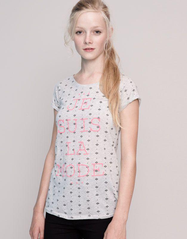 Pull&Bear - femme - t-shirts et tops - t-shirt message et imprimé allover manches courtes - gris vigoré - 09231376-I2015