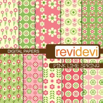 Flowery digital papers in pink and lime green.  These digital papers are great for teachers and educators for creating their school and classroom projects such as for background for bulletin, announcement, learning worksheet, craft materials, cards, paper goods, and for more fun projects.