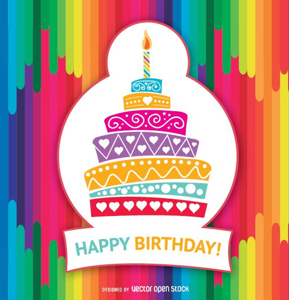 Happy Birthday colorful cake with hearts, circles and ornaments. Colorful rainbow background and Happy Birthday message. High quality JPG included. Under