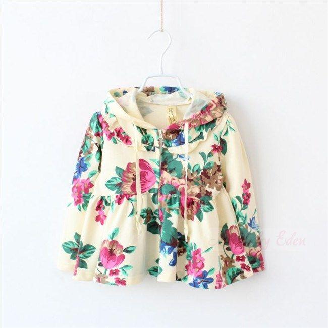 New Girls Zip Up Floral Hoodie Jacket Age 3 4 5 6 7 Years
