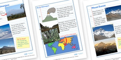 Mountains of the World Fact Sheets - Pop over to our site at www.twinkl.co.uk and check out our lovely primary teaching resources on mountains! international mountains day, mountains, fact sheets, facts about mountains #twinkl #resources