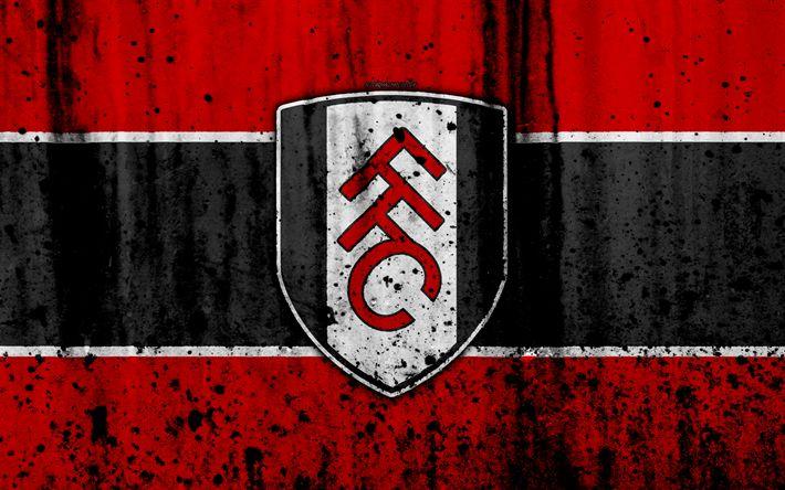 Download wallpapers 4k, FC Fulham, grunge, EFL Championship, art, soccer, football club, England, Fulham, logo, stone texture, Fulham FC