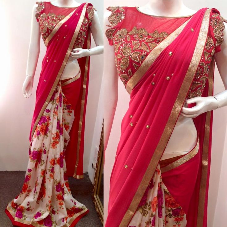 floral half saree