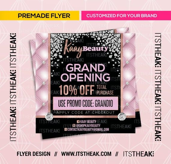 Premade Grand Opening Flyer Customized For Your Brand Hair Etsy In 2021 Business Hairstyles Grand Opening Flyer
