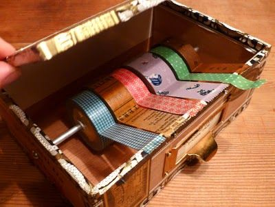 Cigar Box Turned Washi Paper Tape Dispenser | Just Something I Made  I adore this, my deco tape collection is well, not even a collection, but I am still moving them about trying to find space. THIS is perfect, and simple!  Found via leandracalixta