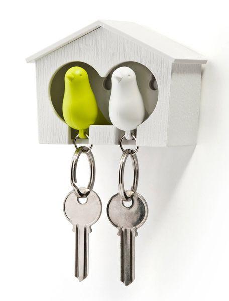 Schlüsselanhänger / Vogelhaus 'Sparrow Duo Key Ring' weiß/grün | Qualy Design Shop