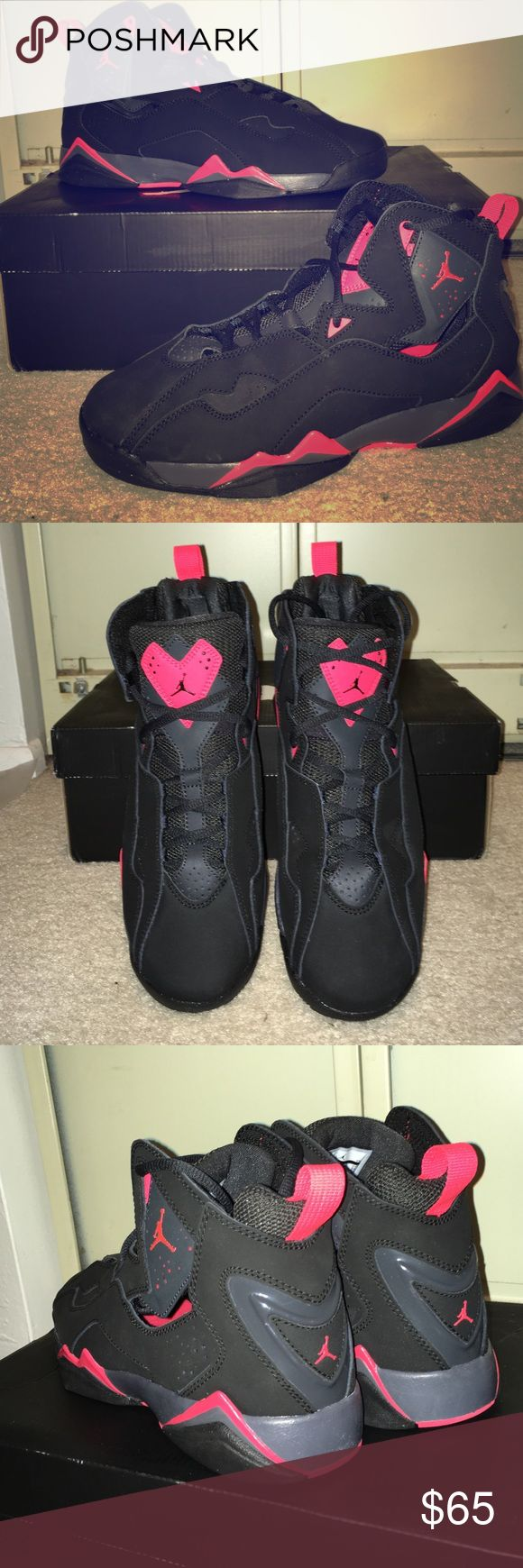 Jordan True Flight BG BRAND NEW JORDANS TRUE FLIGHT. I NEVER WORE THEM. These are kids boys size 7 which it would be size 9 in women's. The color is black and like a coral color Jordan Shoes Sneakers