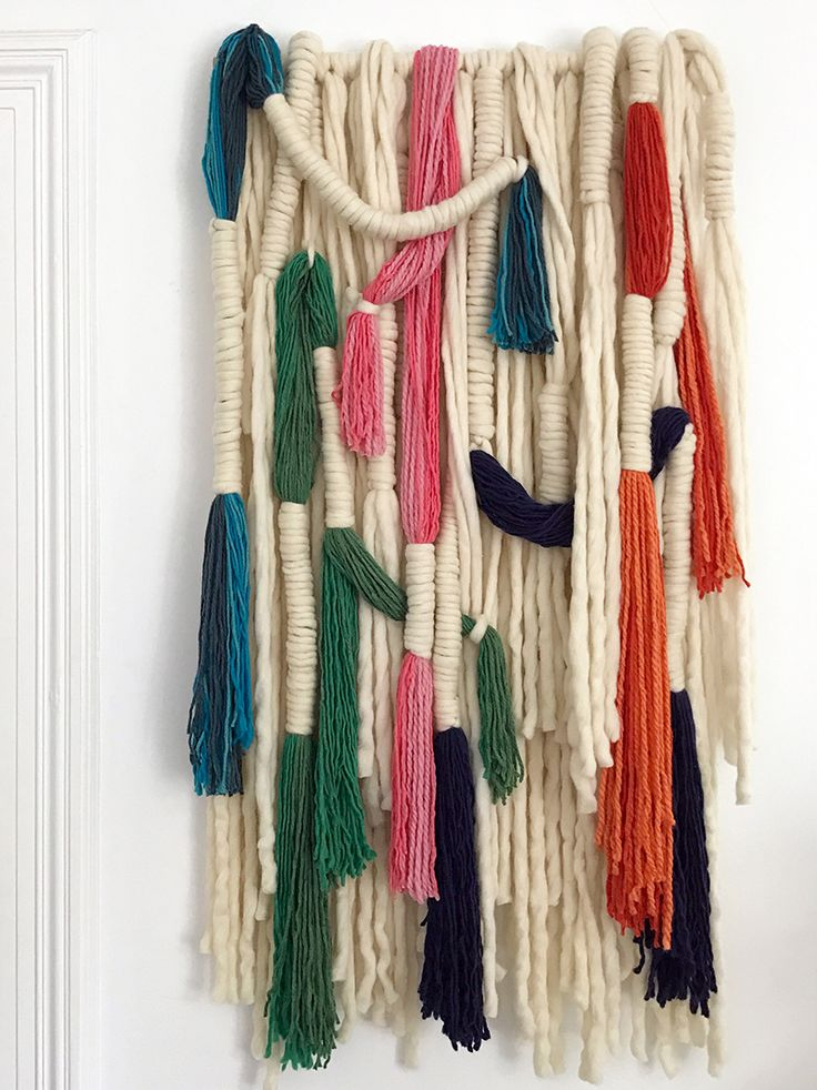 Step by step guide to making this wrapped wool wall hanging