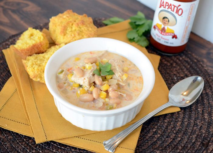 White Chicken Chili – lightened up (full of protein and easy to boot)