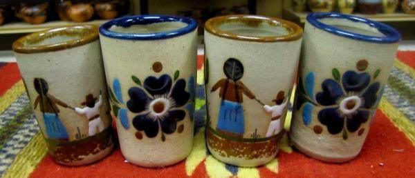 Hand Painted SandStone Shot Glasses, Set of 4 $20 #elpasosaddleblanket #sandstone #handpainted #shotglass #mexicanpottery #pottery #southwest #southwestern