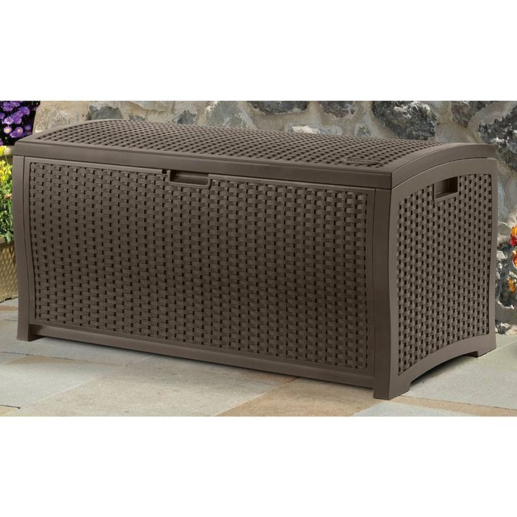 Suncast 99 Gallon Mocha Wicker Resin Deck Box Outdoor Patio Cushion Storage  NEW Part 36