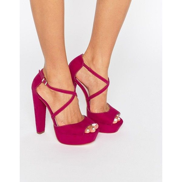 Faith Daniella Cross Strap Platform Heeled Sandals (1 590 UAH) ❤ liked on Polyvore featuring shoes, sandals, pink, heeled sandals, pink heel sandals, ankle strap high heel sandals, pink shoes and platform sandals
