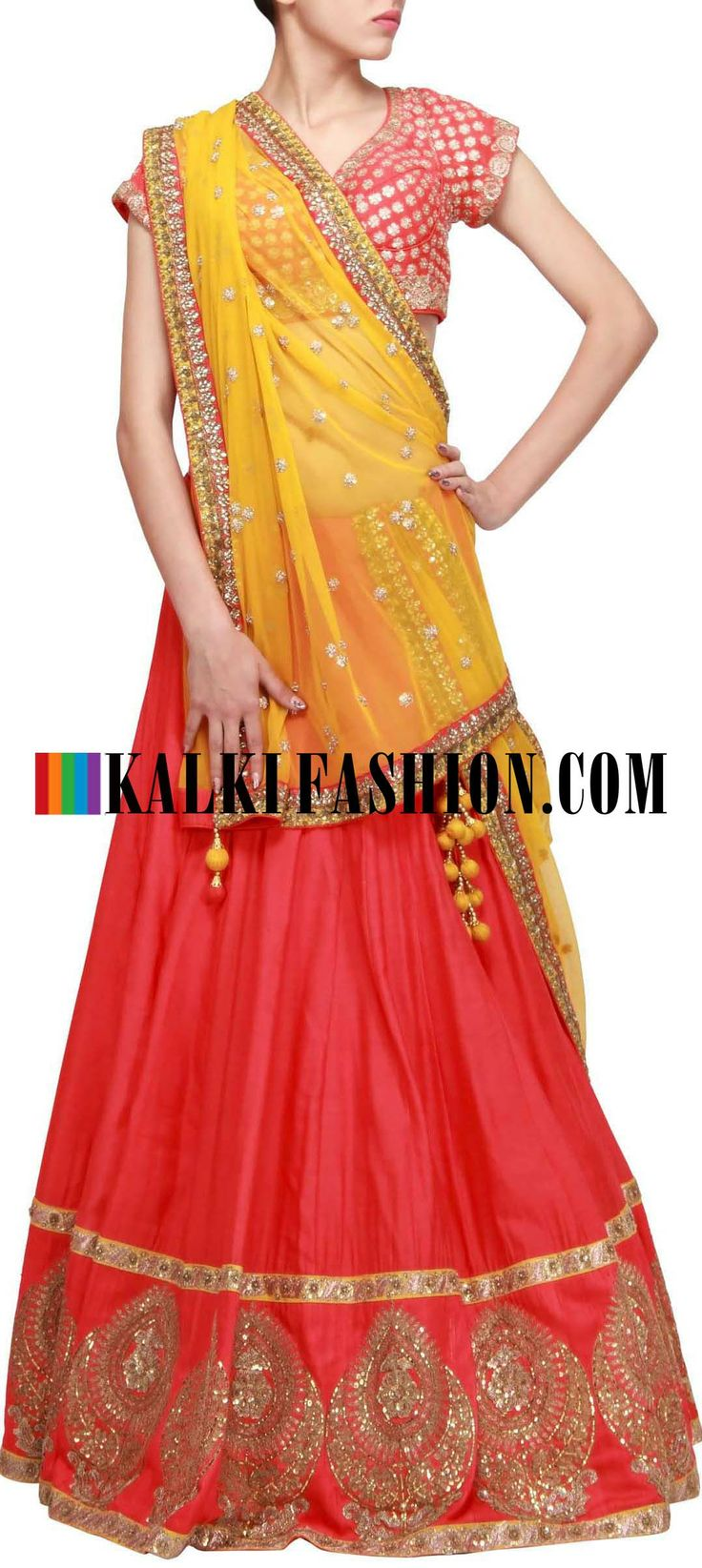 Buy Online from the link below. We ship worldwide (Free Shipping over US$100) http://www.kalkifashion.com/orange-raw-silk-lehenga-embellished-in-sequence-only-on-kalki.html Orange raw silk lehenga embellished in sequence only on Kalki
