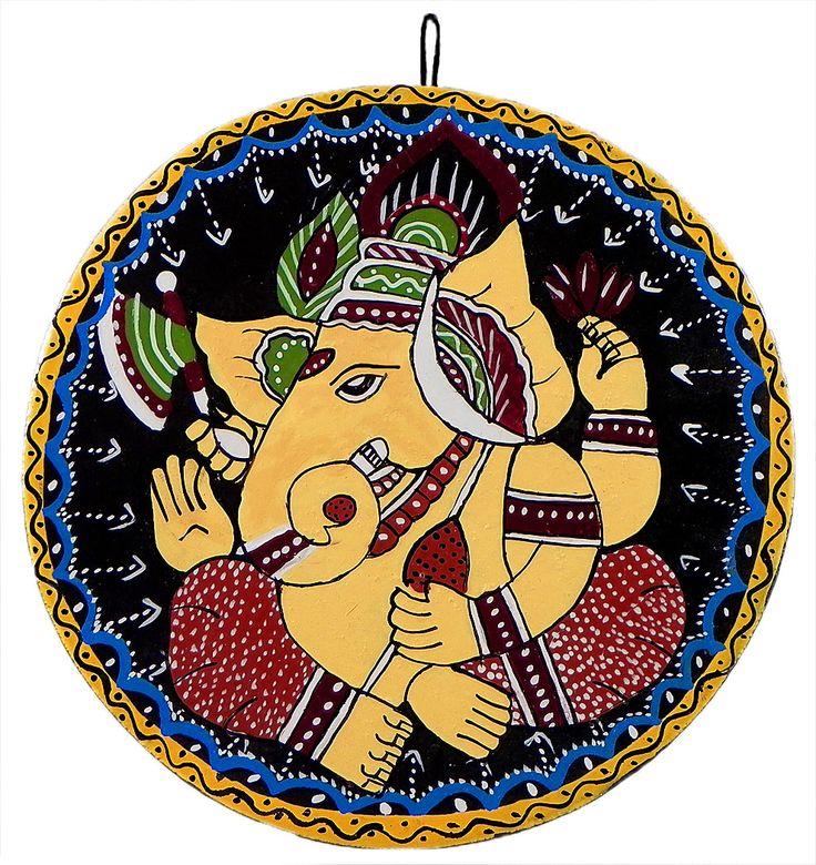 Lord Ganesha - Wall Hanging (Tikuli Painting on Hardboard)
