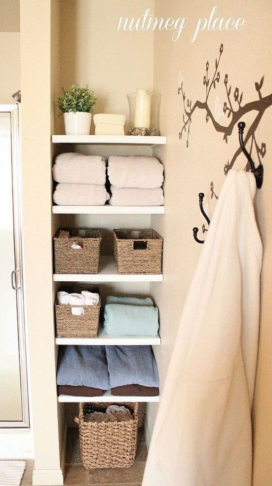 Best 25 bathroom shelves ideas on pinterest half bath for Bathroom built in shelving ideas