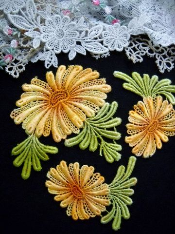 Yellow Daisy Lace Flower Hand Dyed Venise by RavioleeDreams, $6.25