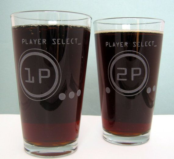 Great gift for a gamer couple!   Player Select Etched Glassware Large by DancesWithMonsters on Etsy