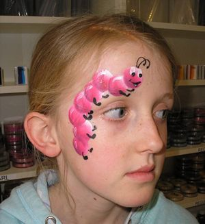 pink caterpillar face painting design