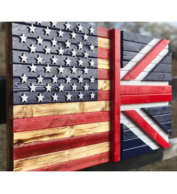 American Flag Union Jack Flag 19 X 36 American Flag Art Wooden American Flag Flag Art